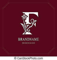 Elegant Capital letter F. Graceful floral style. Calligraphic beautiful logo. Vintage drawn emblem for book design, brand name, business card, Restaurant, Boutique, Hotel, Cafe. Vector illustration