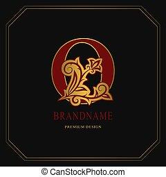 Elegant Capital letter O. Graceful floral style. Calligraphic gold beautiful logo. Vintage drawn emblem for book design, brand name, business card, Restaurant, Boutique, Hotel. Vector illustration