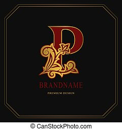Elegant Capital letter P. Graceful floral style. Calligraphic gold beautiful logo. Vintage drawn emblem for book design, brand name, business card, Restaurant, Boutique, Hotel. Vector illustration