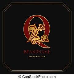 Elegant Capital letter Q. Graceful floral style. Calligraphic gold beautiful logo. Vintage drawn emblem for book design, brand name, business card, Restaurant, Boutique, Hotel. Vector illustration