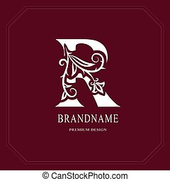Elegant Capital letter R. Graceful floral style. Calligraphic beautiful logo. Vintage drawn emblem for book design, brand name, business card, Restaurant, Boutique, Hotel, Cafe. Vector illustration