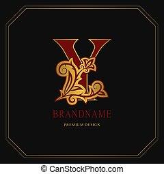 Elegant Capital letter Y. Graceful floral style. Calligraphic gold beautiful logo. Vintage drawn emblem for book design, brand name, business card, Restaurant, Boutique, Hotel. Vector illustration