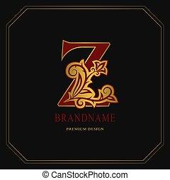 Elegant Capital letter Z. Graceful floral style. Calligraphic gold beautiful logo. Vintage drawn emblem for book design, brand name, business card, Restaurant, Boutique, Hotel. Vector illustration