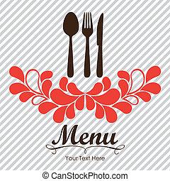 Elegant card for restaurant menu, with spoon, knife and fork vector illustration