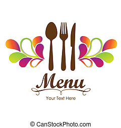 Elegant card for restaurant menu, with spoon, knife and fork...
