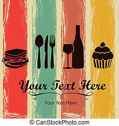 Elegant card for restaurant menu, with spoon, knife, fork, sandwich, dessert, and wine vector illustration