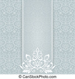 Elegant  card with btterfly and floral seamless background (back
