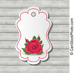Elegant card with red rose for Valentine Day