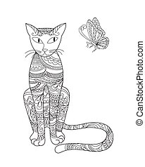 elegant cat and butterfly - Hand drawn ornamental cat in zen...