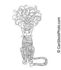 elegant cat with bouquet flowers in the cup - Hand drawn...