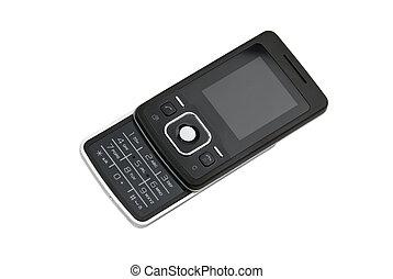 Elegant cell phone - Elegant black cell phone isolated on...