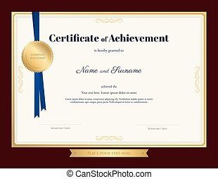 Elegant certificate of achievement template with blue ribbon and gold seal