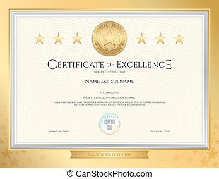 Elegant Certificate Template For Excellence, Achievement, Appreciation Or  Completion On Gold Border Background