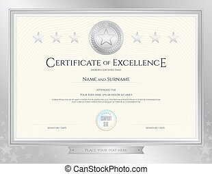 Elegant certificate template for excellence achievement clip elegant certificate template for excellence achievement appreciation or completion on silver border background yadclub Images