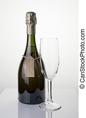 Elegant champagne bottle and wine glass on a light background.
