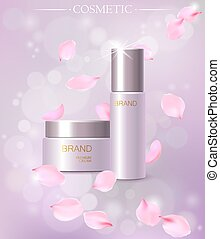 Elegant cherry blossom cosmetic ads, top view of two...