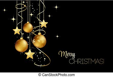 elegant Christmas background with gold baubles
