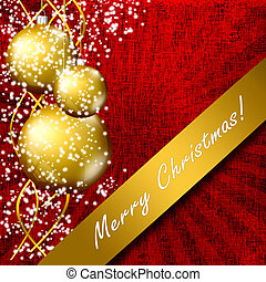 Elegant Christmas background with gold  evening balls