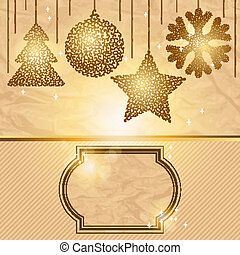 Elegant Christmas background with gold evening balls.
