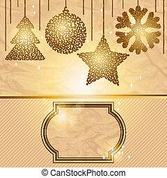 Elegant Christmas background with gold evening balls.