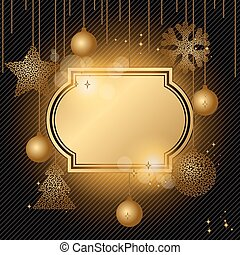 Elegant Christmas background with gold evening balls