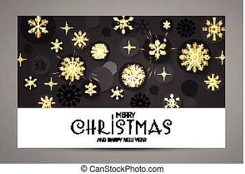 Elegant Christmas Background with Gold Shining Snowflakes.