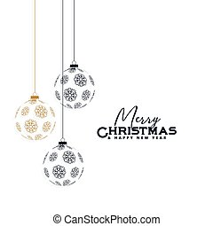 elegant christmas background with hanging balls made with snowflakes