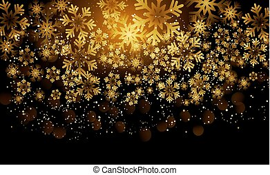 Elegant Christmas Background with Shining Gold Snowflakes.