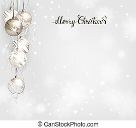 elegant Christmas background with silver and white evening balls