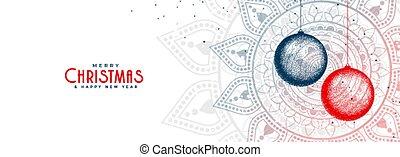 elegant christmas balls white decorative banner design
