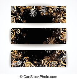 Elegant christmas black and white banner