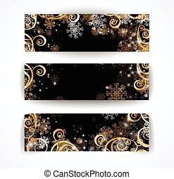 Elegant christmas black and white banner