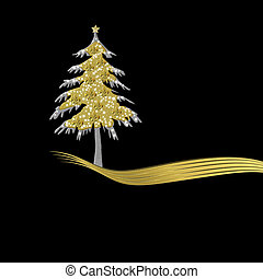 Elegant Christmas card in gold and black, tree ornament with...