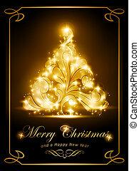 Elegant Christmas card, party invitation