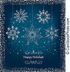 Elegant Christmas Card With Snowfla