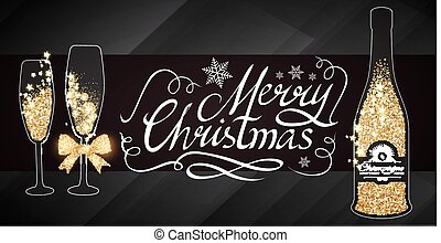 Elegant Christmas Design Template with Lettering, Champagne Glasses, Bottle of Wine, Gold Effects, Bow, and Flash light. Vector illustration