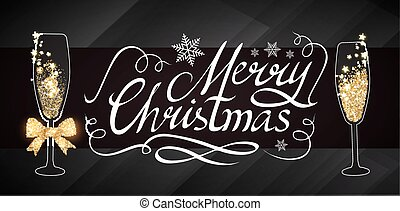 Elegant Christmas Design Template with Lettering, Champagne Glasses, Gold Effects, Stars and Flash light. Vector illustration