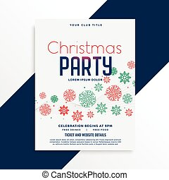 elegant christmas party flyer design with colorful snowflakes