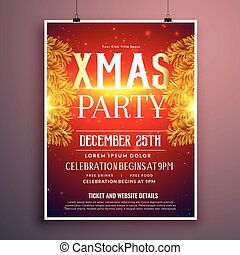elegant christmas party flyer design with golden fir leaves
