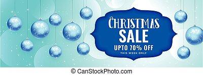 elegant christmas sale banner with hanging blue balls