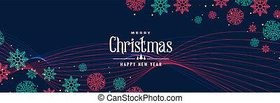 elegant christmas snowflakes banner design
