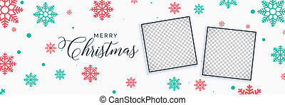 elegant christmas snowflakes banner with image space