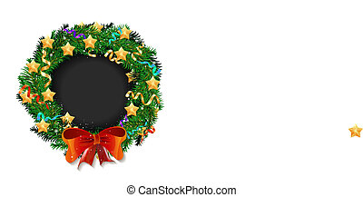 Elegant Christmas wreath with stars and bow
