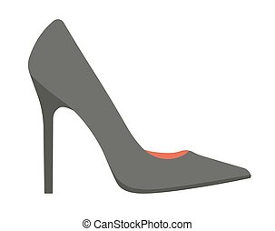 Elegant classic black stiletto shoe isolated cartoon...
