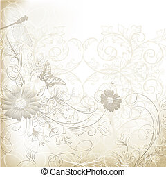 Elegant clear wedding background with floral ornament -...