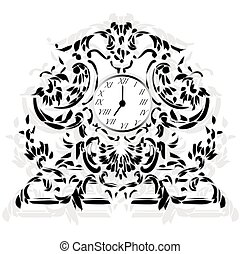 Elegant Clock with Baroque ornaments
