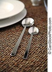 Elegant close up of a restaurant table