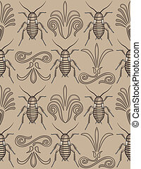 Pattern swatch of elegant arabesque scrollwork with creepy crawly cockroaches- totally unique approach to a background!