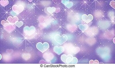 elegant color hearts bokeh lights loopable background -...