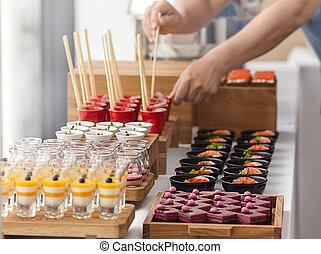 Elegant colourful dessert buffet